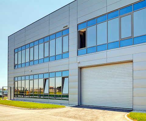 aluminum windows in industrial building