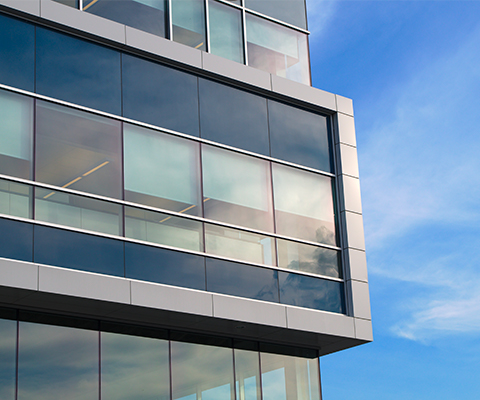 aluminum windows in office building